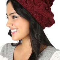Slouchy Knit Beanie with Pom