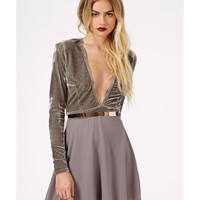 Missguided - Chuana Velvet Chiffon Contrast Skater Dress In Grey