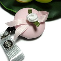 Id Badge Reel Pink Ribbon White Rose Handmade Button Clip On Retract