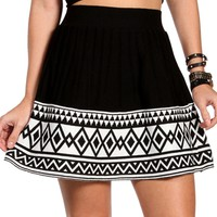 Black/White Colorblock Pleated Skirt