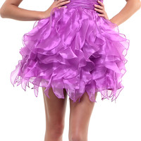 Magenta Dazzling Empire Waist Ruffled Prom Dress