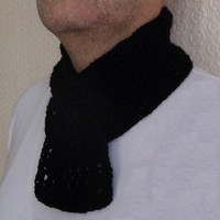 Christmas Treat - Men's Black Scarf, Handmade, Crochet