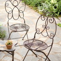 Butterfly And Ladybug Portable Iron Folding Chairs - Plow & Hearth