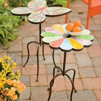 Butterfly And Flower Stained Glass Mosaic Accent Tables - Plow & Hearth