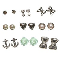 Rhinestone Bow Earring Set | Wet Seal