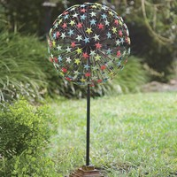 All-Weather Garden Starburst Stake Glows In The Dark - Plow & Hearth