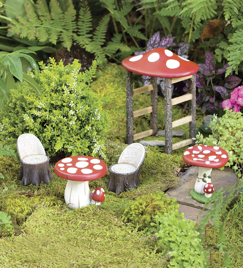 mushroom fairy garden resin furniture set from. Black Bedroom Furniture Sets. Home Design Ideas