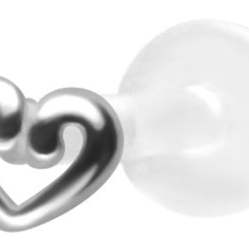 Tiny Open Heart Labret Stud-Bioflex Labret Stud-Tragus Earring-Cartilage Earring-14 gauge Earring Body Jewelry