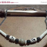 ON SALE Bone Skull and Jasper Necklace