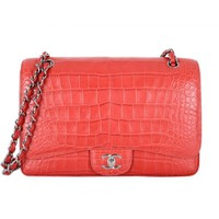 Chanel Pink Matte Crocodile Jumbo Flap Bag