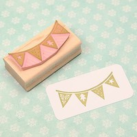 Christmas Bunting Hand Carved Rubber Stamp