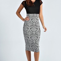 Mollie Contrast Midi Bodycon Dress