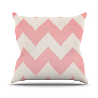 "Catherine McDonald ""Sweet Kisses"" Pink Chevron Throw Pillow"