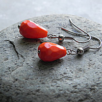 Orange Earrings Dangle Earrings - Cute Delicate Earrings for Women - Gift for Her Handmade Jewelry