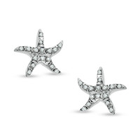 Diamond Fascination™ Starfish Stud Earrings in Sterling Silver with Platinum Plating