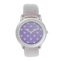 Pretty Purple With White Hearts Watch