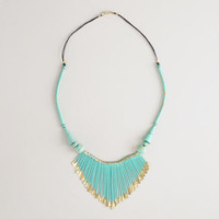 Aqua and Gold Fan Necklace