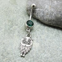 Antique silver owl belly button ring , belly button jewelry