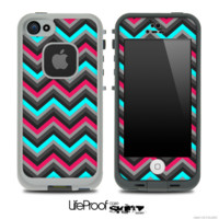 Turquoise and Pink Chevron V4 Skin for the iPhone 5 or 4/4s LifeProof Case