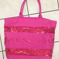 VICTORIA'S SECRET PINK SEQUINE CANVAS TOTE BAG HOT PINK