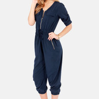 Pop, Lock, and Crop It Cropped Navy Blue Jumpsuit