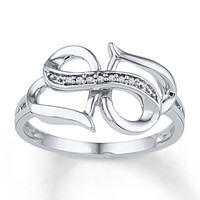 Heart/Infinity Ring Diamond Accents 10K White Gold