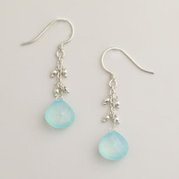 Silver and Aqua Drop Earrings