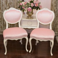 French Style Pair of Pink Chairs with Shell Crest
