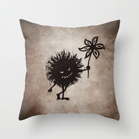 Evil Bug Gives Flower Throw Pillow by Boriana Giormova