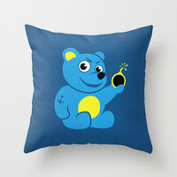 Evil Tattooed Teddy Bear Throw Pillow by Boriana Giormova
