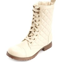 QUILTED LACE-UP COMBAT BOOTIE