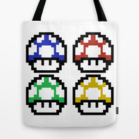 EAT SHROOMS Tote Bag by John Medbury (LAZY J Studios)