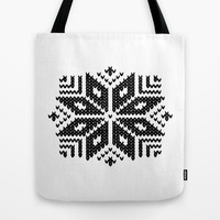 knit flake Tote Bag by Miranda J. Friedman