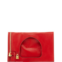TOM FORD - Alix Small Padlock & Zip Flat Bag, Dark Orange