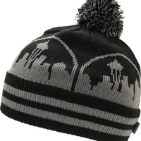 Casual Industrees Seattle Skyline Black & Charcoal Pom Beanie