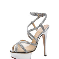 Isadora Metallic Nappa Leather Heel in Silver