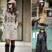 SLIM FIT LONG STYLE TRENCH DOUBLE BREASTED COAT BBDBC