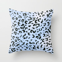 Wild Blue Cheetah Throw Pillow by Catherine Holcombe