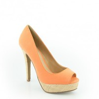 MYRA PEEP TOE IN ORANGE GLOW