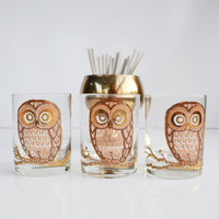 Vintage Mid Century Modern Bar Glasses Owl Glasses Barware Set of 3 Georges Briard Tumblers Gold and Brown Owl