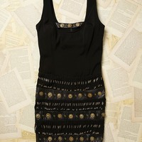 Vintage 1990s Coin and Beaded Dangle Dress