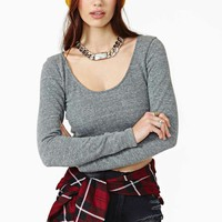 Nasty Gal Thermal Current Crop Sweater