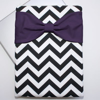 MacBook Pro / Air Case, Laptop Sleeve - Black and White Chevron Dark Purple Bow - Double Padded