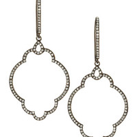 CZ Pave Moroccan-Tile Drop Earrings, Gunmetal