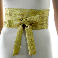 Golden Sash Belt Obi Waist Cincher - Gold Brocade Sash Belt Obi Waist Cincher - Sashes for Weddings Evening Cocktail Formal Party