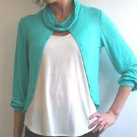 Free shipping Draped shawl collar top in teal by MyLolaFashion