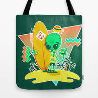 Alien Surfer Nineties Pattern Tote Bag by chobopop