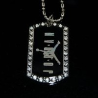 Michael Air Jordan Jumpman CZ Dog Tag Pendant Necklace
