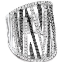 Striated Diamond Pave Ring, Black/White, Size 7.5