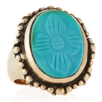 Carved Oval Turquoise Ring